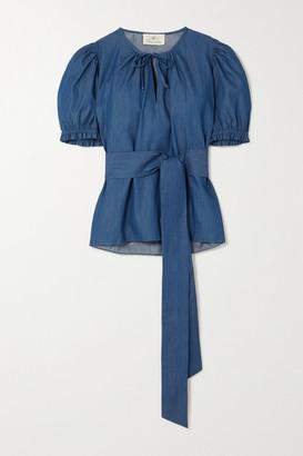 ARoss Girl x Soler Ines Belted Denim Blouse - Blue