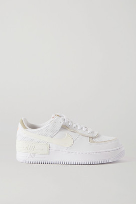 Nike Air Force 1 Shadow Suede-trimmed Leather Sneakers - White