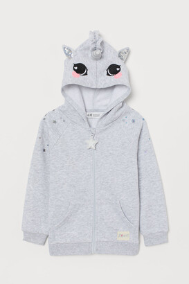 H&M Hooded Jacket with Appliques - Gray