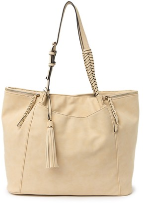 Violet Ray Braided Handle Tote Bag