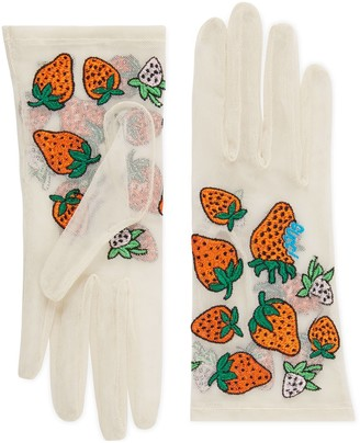 Gucci Tulle gloves with Strawberry motif