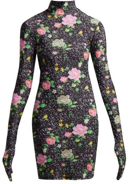 Vetements Floral Print Glove Sleeved Jersey Mini Dress - Womens - Black Multi