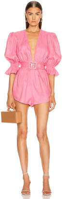Adriana Degreas Solid Playsuit With Belt in Pink   FWRD