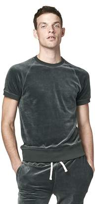 Todd Snyder Velour Short Sleeve Sweatshirt in Green