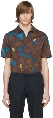 Dries Van Noten Blue and Brown Floral Pocket Polo