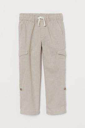 H&M Linen-blend Cargo Pants - Brown