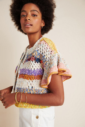 Anthropologie Mia Hand-Knit Cropped Cardigan By in Assorted Size M/L
