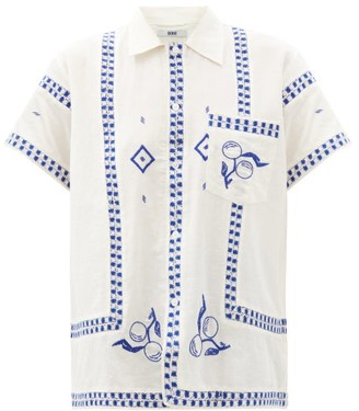 Bode Fruit-embroidered Silk-blend Bowling Shirt - Blue White