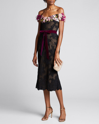 Marchesa Lace Off-the-Shoulder Cocktail Dress w/ 3D Flowers