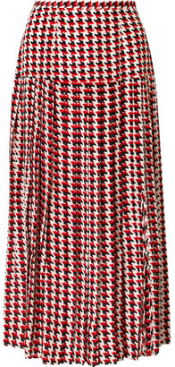 Rixo Tina Pleated Houndstooth Silk Crepe De Chine Midi Skirt - Red