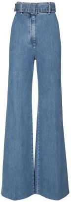Emilia Wickstead High Waist Flared Cotton Denim Jeans