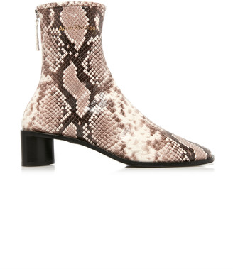 Acne Studios Bertine Logo Snake-Effect Leather Boots
