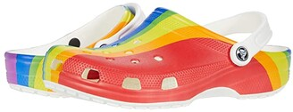 Crocs Classic Rainbow Stripe Clog (Rainbow) Clog Shoes