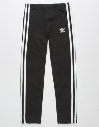 adidas 3 Stripes Black Girls Leggings