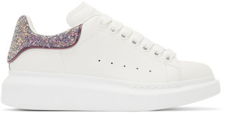Alexander McQueen SSENSE Exclusive White and Purple Glitter Oversized Sneakers