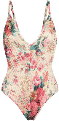 Zimmermann Laelia Floral-print Pintucked Swimsuit