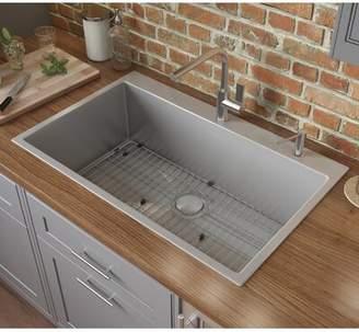 """Ruvati Tirana 28"""" L x 22"""" W Drop-In Kitchen Sink with Basket Strainer Ruvati"""