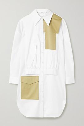 Tibi Two-tone Paneled Cotton-poplin Dress - White
