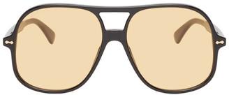 Gucci Black Acetate Aviator Sunglasses