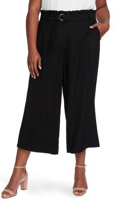 CeCe Paperbag Waist Rumple Wide Leg Crop Pants