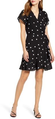 Gibson x International Women's Day Steph Taylor Jackson Smocked Shoulder Ruffle Faux Wrap Dress