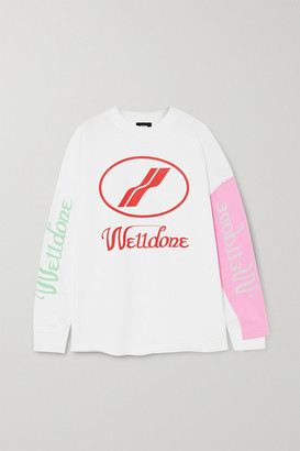 we11done Oversized Layered Printed Cotton-jersey T-shirt - White