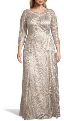 Tahari Embellished A-Line Gown