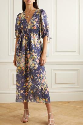Zimmermann Zinnia Shirred Floral-print Linen Midi Dress - Navy
