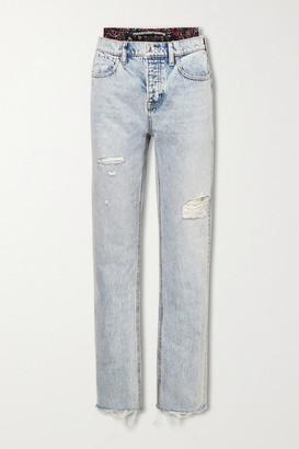 Alexander Wang Layered Distressed High-rise Straight-leg Jeans - Light denim