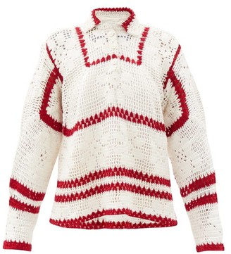 Bode Buttoned Hand-crocheted Cotton Sweater - Red White