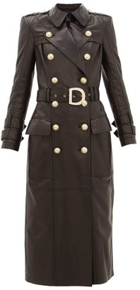 Balmain Double-breasted Leather Trench Coat - Womens - Black