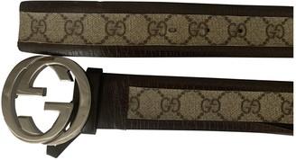 Gucci Interlocking Buckle Khaki Cloth Belts
