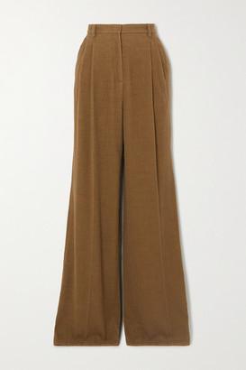 Gabriela Hearst Sonia Pleated Cashmere-corduroy Wide-leg Pants - Light brown