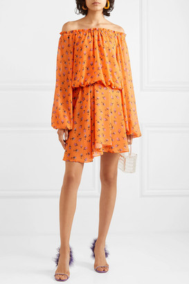 Rotate by Birger Christensen Off-the-shoulder Floral-print Chiffon Mini Dress - Orange