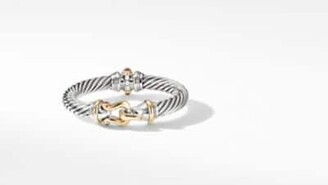 David Yurman Cable Buckle Bracelet With 18K Yellow Gold And Rhodolite