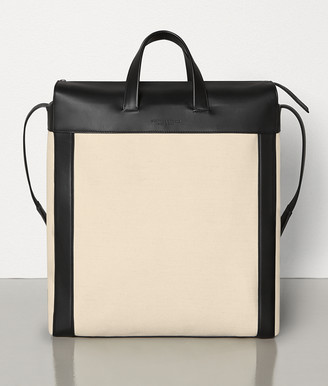 Bottega Veneta MEDIUM TOTE IN CANVAS AND MATTE CALF