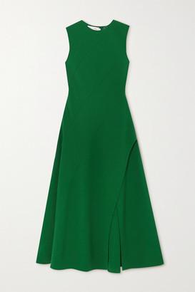 Oscar de la Renta Paneled Wool-blend Crepe Midi Dress - Green