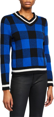 Rag & Bone Gabby Plaid V-Neck Sweater