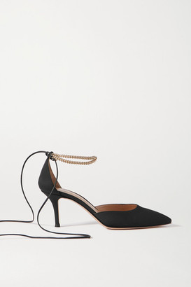 Gianvito Rossi 70 Chain And Leather-trimmed Satin Pumps - Black
