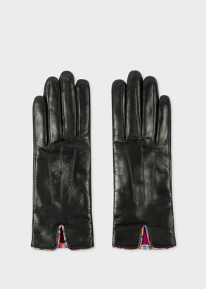 Paul Smith Women's Black Leather Gloves With 'Swirl' Piping