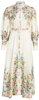 Zimmermann Wavelength Floral Puff-Sleeve Belted Linen Maxi Shirtdress