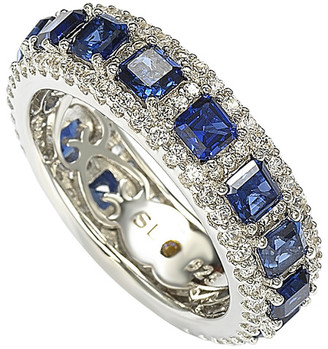 LeVian Suzy Diamonds Suzy Silver 4.33 Ct. Tw. Sapphire Eternity Ring