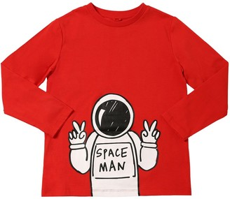 Stella McCartney Space Man Print L/S Cotton T-Shirt