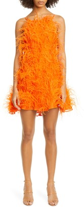 Cult Gaia Shannon Feather Silk Minidress