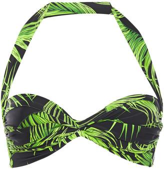 Norma Kamali Bill Ruched Printed Halterneck Bikini Top