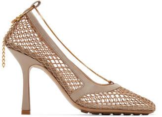 Bottega Veneta Beige Net Chain Heels