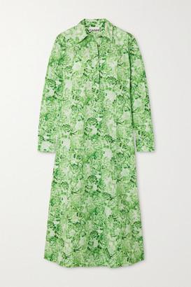 Ganni Floral-print Cotton-poplin Midi Shirt Dress - Light green