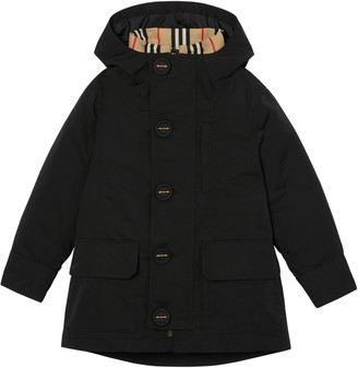 Burberry Rowan Hooded Coat with Detachable Icon Stripe Down Puffer Liner