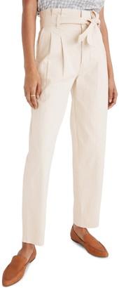 Madewell Herringbone Paperbag Waist Pants