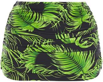 Norma Kamali Bill Ruched Printed High-rise Bikini Briefs